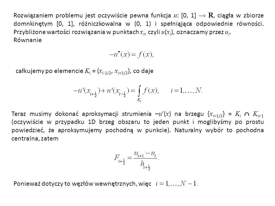 Rozwiązaniem problemu jest oczywiście pewna funkcja u: [0, 1]  R, ciągła w zbiorze domnkinętym [0, 1], różniczkowalna w (0, 1) i spełniąjąca odpowiednie równości. Przybliżone wartości rozwiązania w punktach xi, czyli u(xi), oznaczamy przez ui.